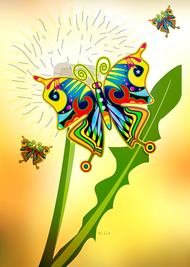 Happy Hippie Butterflies Digital Art  - Happy Hippie Butterflies Fine Art Print