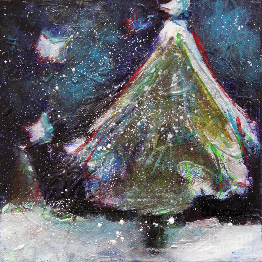 Happy Holidays Blue And Red Wishing Stars Painting