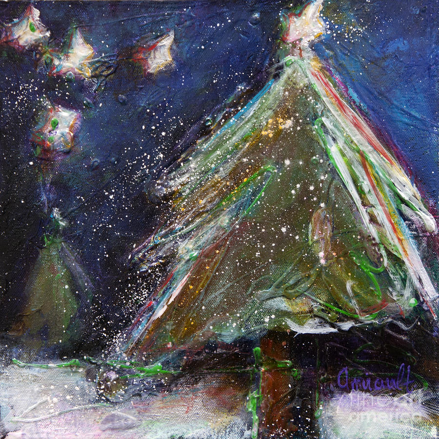 Happy Holidays Silver And Red Wishing Stars Painting