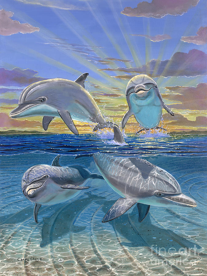 Dolphin Painting - Happy Hour Re003 by Carey Chen