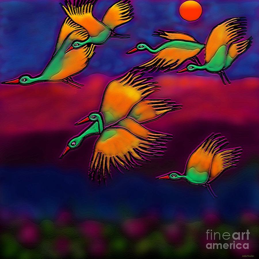 Birds Painting Digital Art - Happy Journey by Latha Gokuldas Panicker
