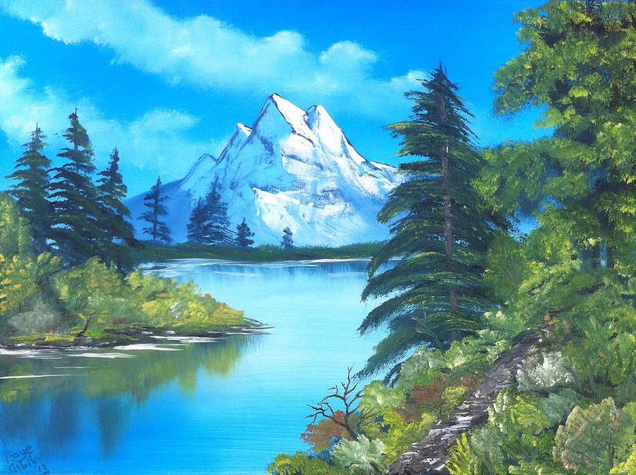 Bob Ross Painting - Happy Little Trees by Faye Giblin