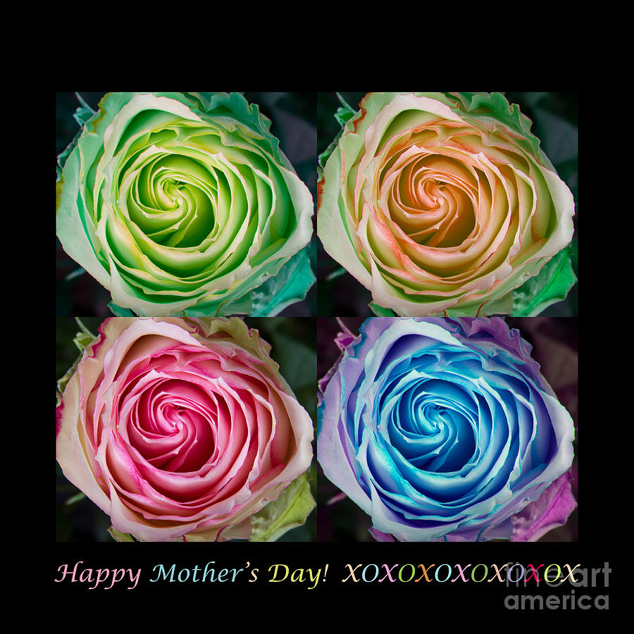 Happy Mothers Day Hugs Kisses And Colorful Rose Spirals Photograph