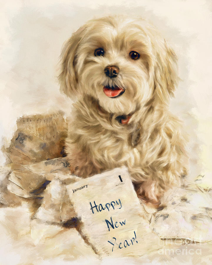 Happy New Year Mixed Media  - Happy New Year Fine Art Print