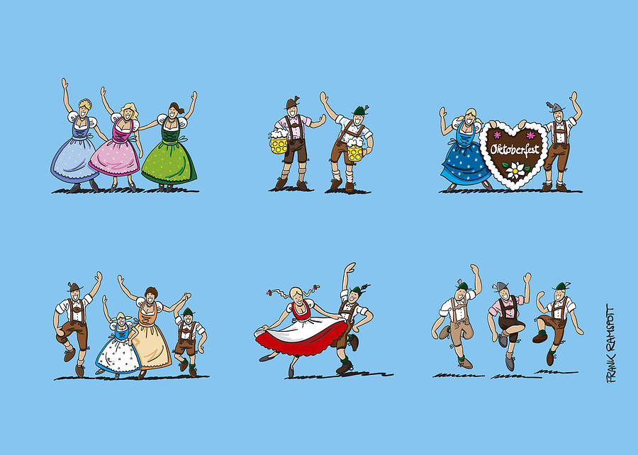 Happy Oktoberfest Cartoon People Drawing  - Happy Oktoberfest Cartoon People Fine Art Print