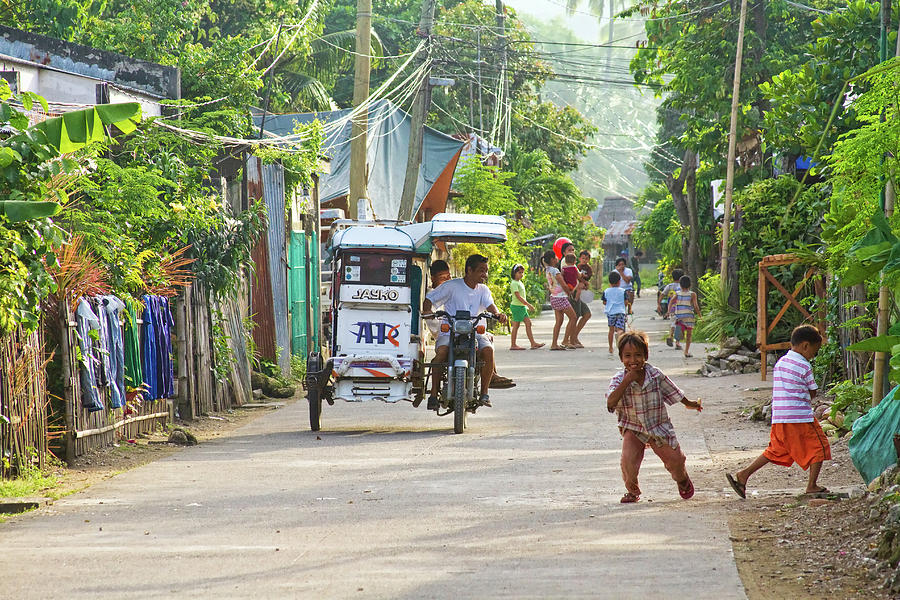 Happy Philippine Street Scene Photograph