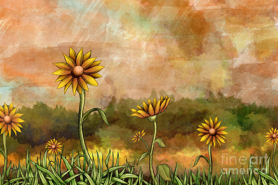 Happy Sunflowers Digital Art