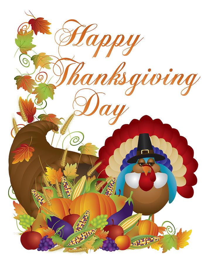Turkey Day Hercules Style: Thanksgiving Day Cornucopia & Tom Turkey Digital Art