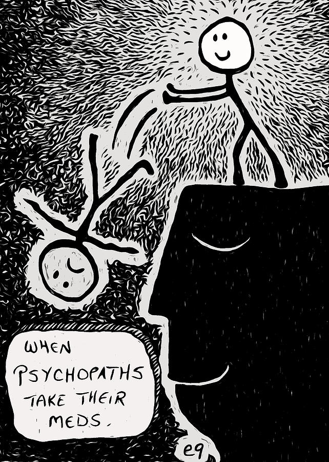 'happy Thoughts' Giclee Fine Art Print By E9art (dark Humor Painting - Happy Thoughts by e9Art