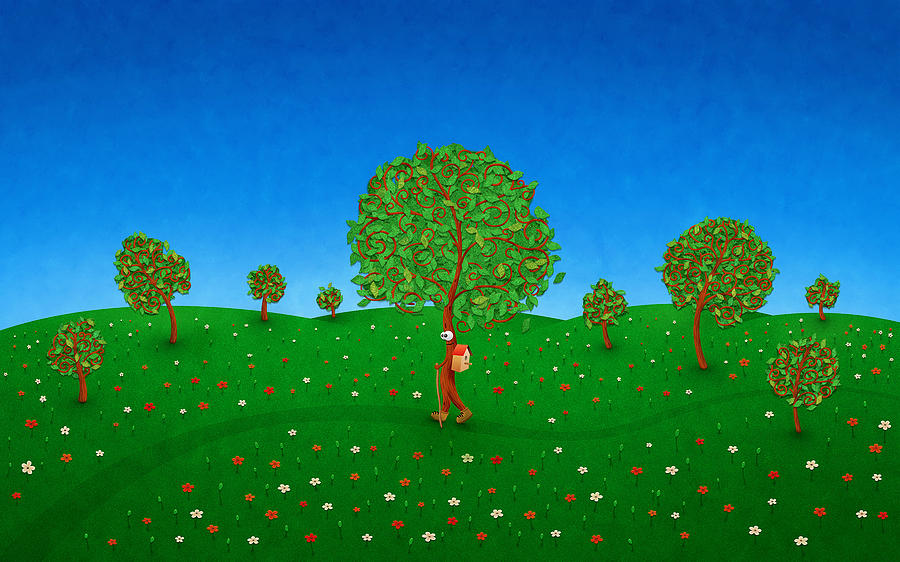 Abstract Drawing - Happy Walking Tree by Gianfranco Weiss