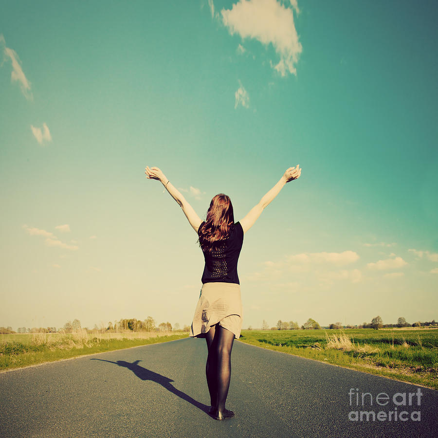 Happy Woman Standing On Empty Road Retro Vintage Style Photograph