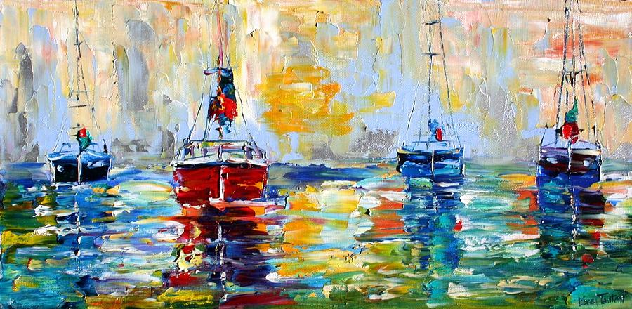 Harbor Boats At Sunrise Painting