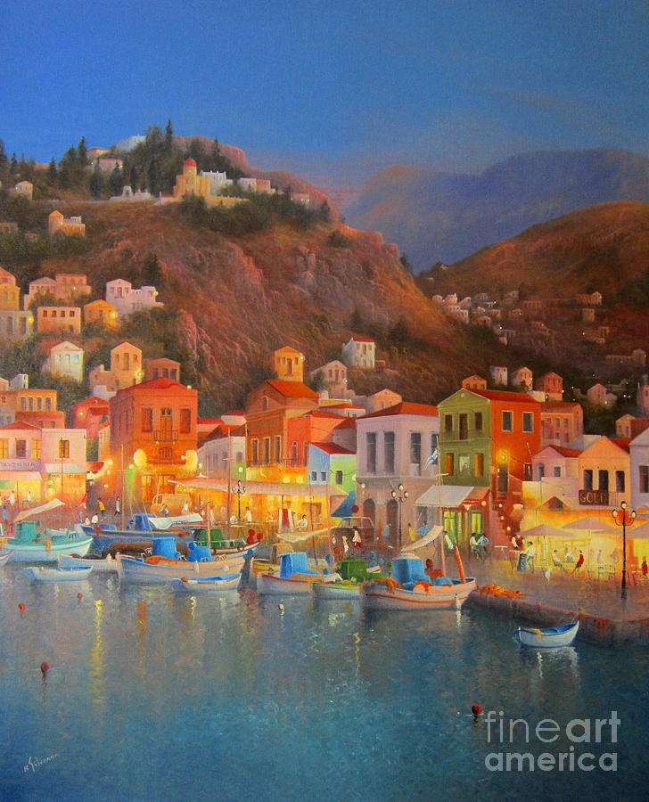 Harbour Lights Symi Greece Painting  - Harbour Lights Symi Greece Fine Art Print