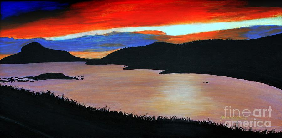 Harbour Sunset Painting  - Harbour Sunset Fine Art Print
