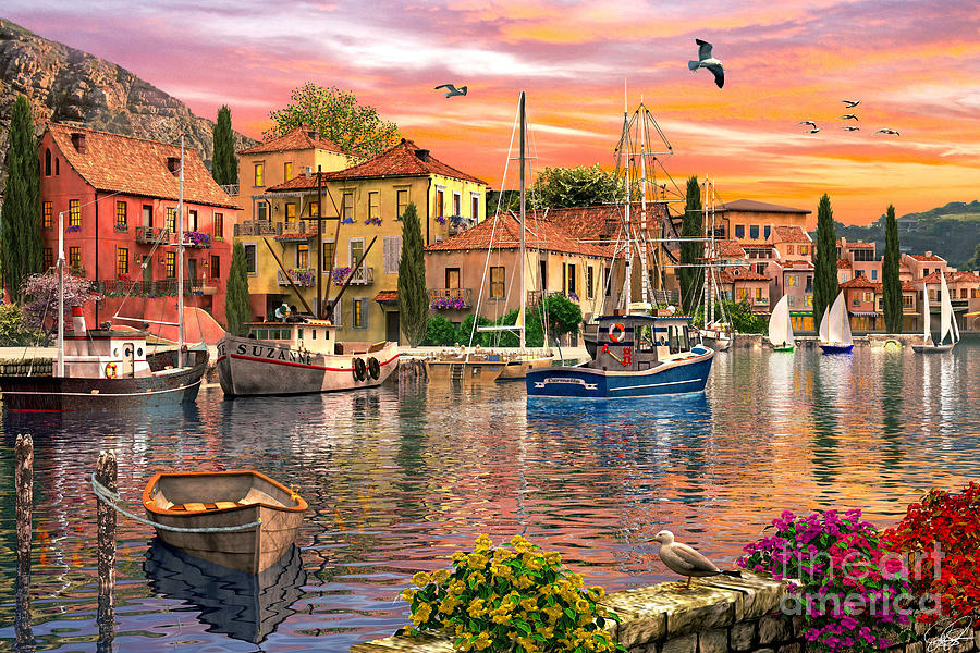 Harbour Sunset Digital Art