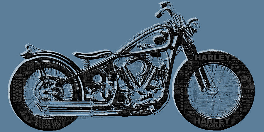 Harley-davidson Painting - Harley-davidson And Words by Tony Rubino