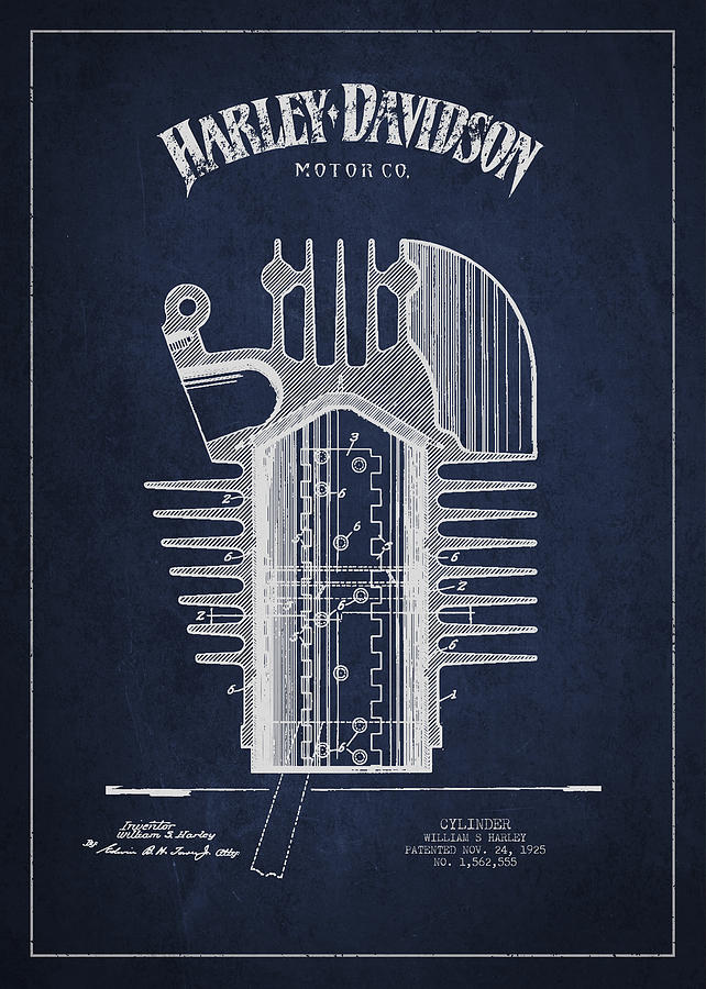 Harley Davidson Cylinder Patent Drawing From 1925 Drawing