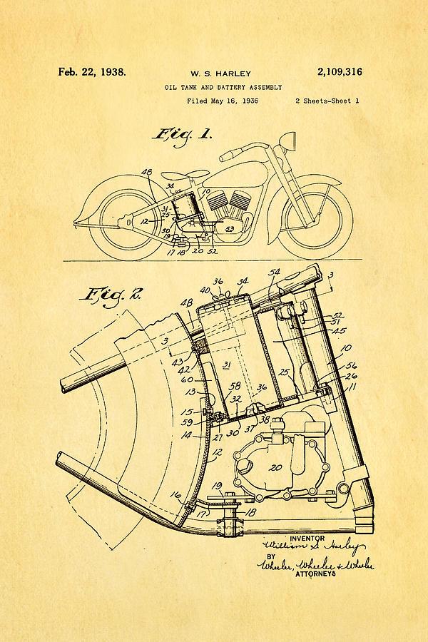 Harley Davidson Horseshoe Oil Tank Patent Art 1938 Photograph