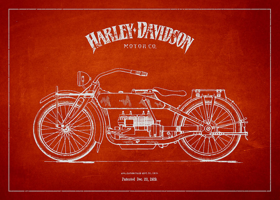 Harley Davidson Motorcycle Patent Drawing From 1919 Drawing