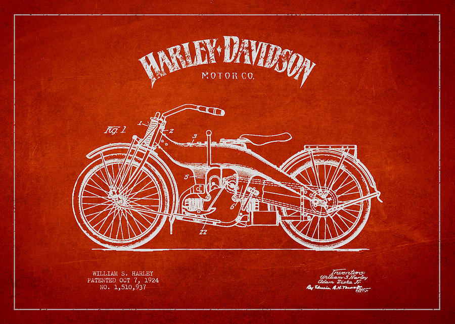Harley Davidson Motorcycle Patent Drawing From 1924 Photograph