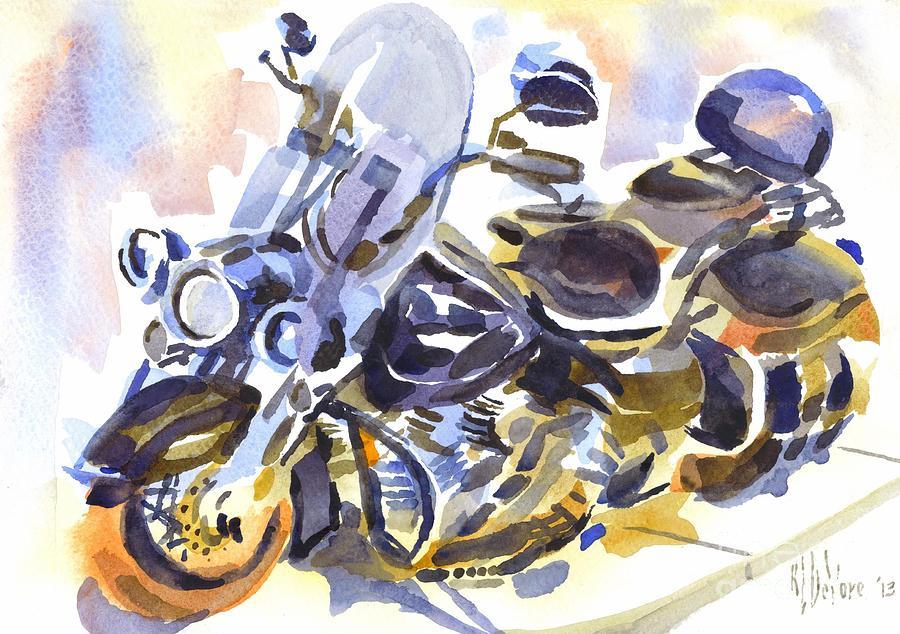 Harley In Watercolor Painting