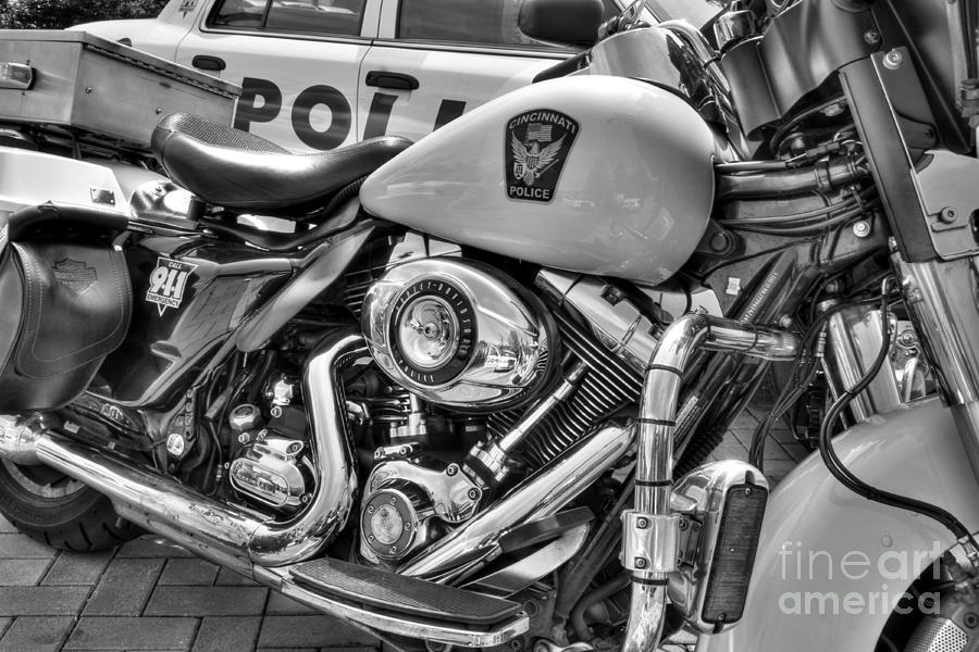 Harleys In Cincinnati 2 Bw Photograph