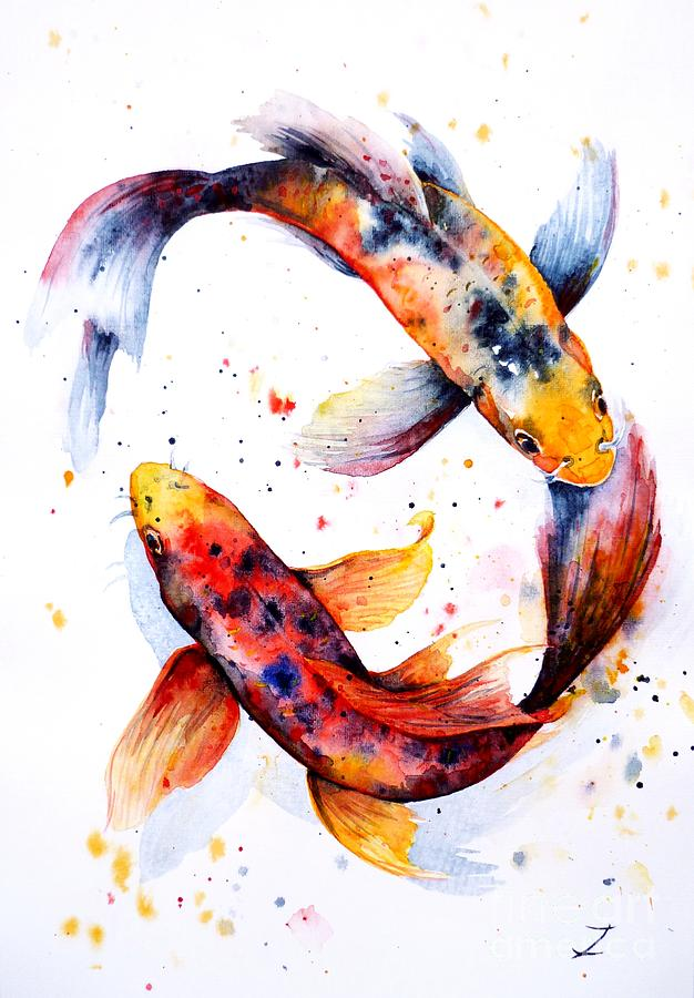 Harmony painting by zaira dzhaubaeva for Japanese koi fish artwork