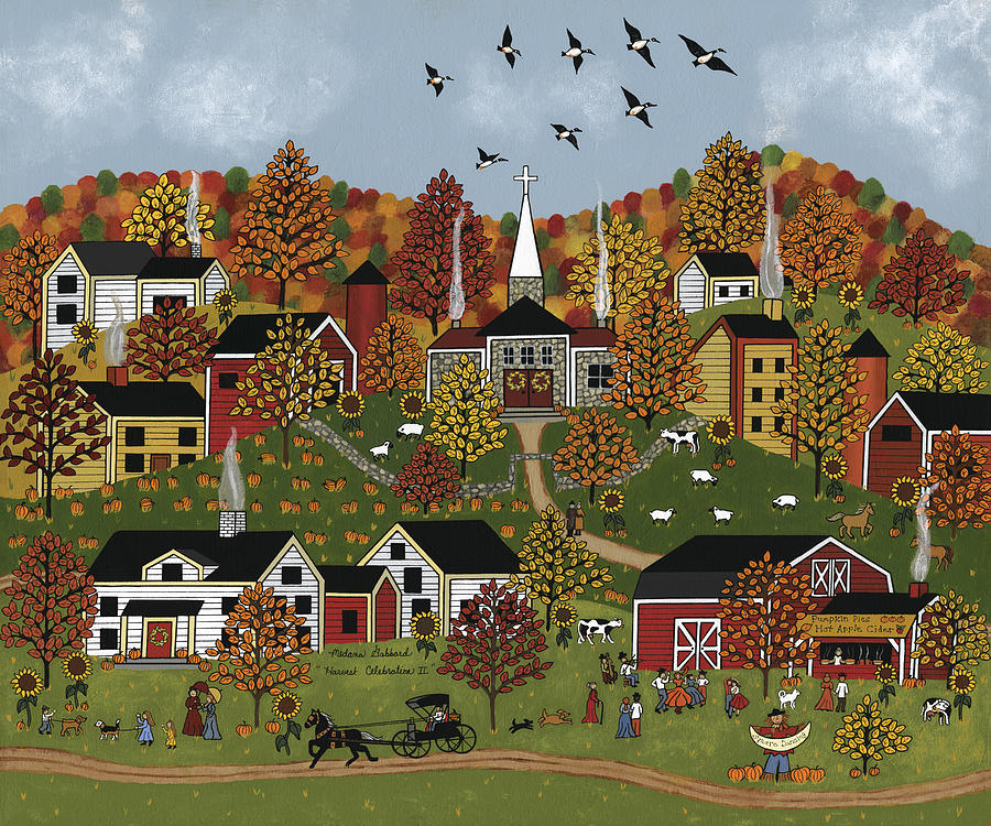 Autumn Painting - Harvest Celebration II by Medana Gabbard