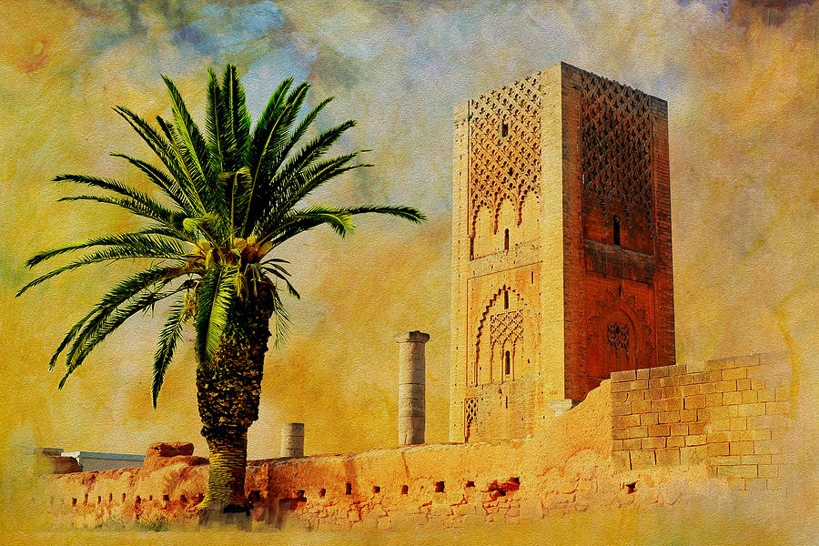 Hassan Tower Painting  - Hassan Tower Fine Art Print
