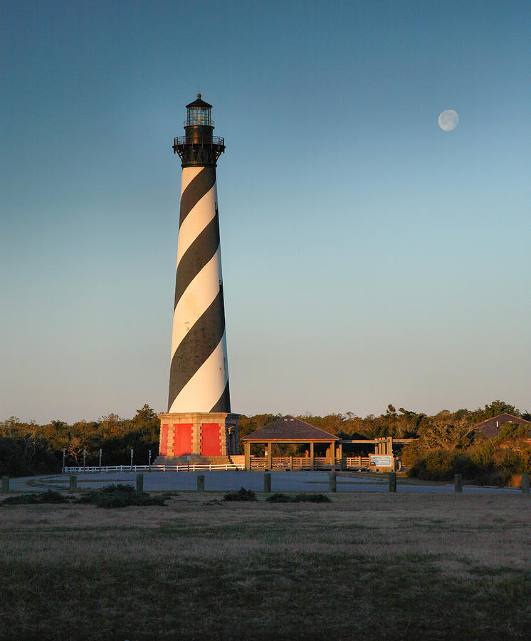 Hatteras Lighthouse And Moon Photograph  - Hatteras Lighthouse And Moon Fine Art Print