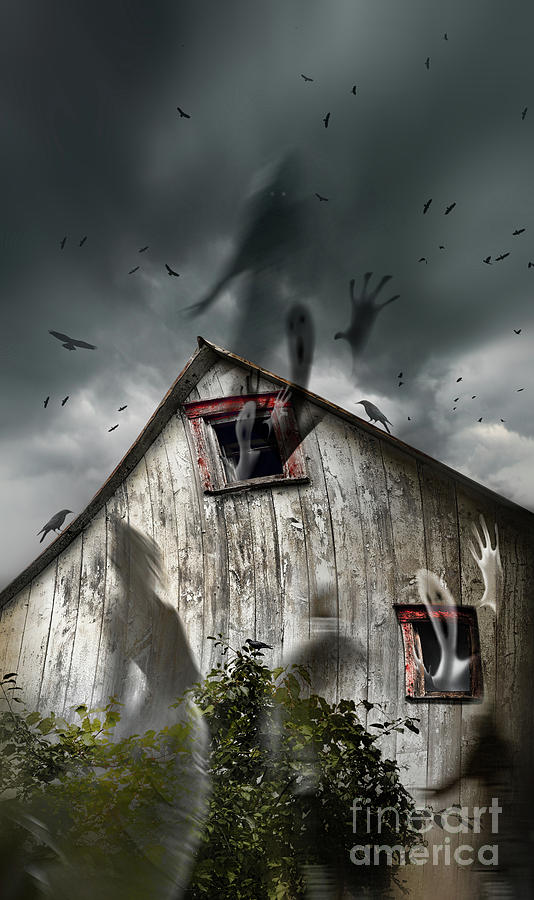 Haunted Barn With Ghosts Flying And Dark Skies Photograph