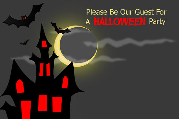Haunted House Halloween Party Invitation Digital Art