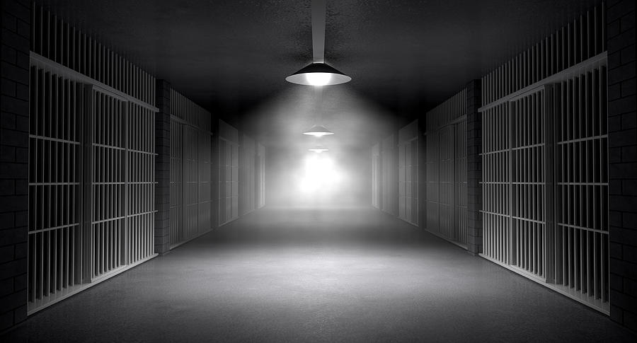 Haunted Jail Corridor And Cells Digital Art