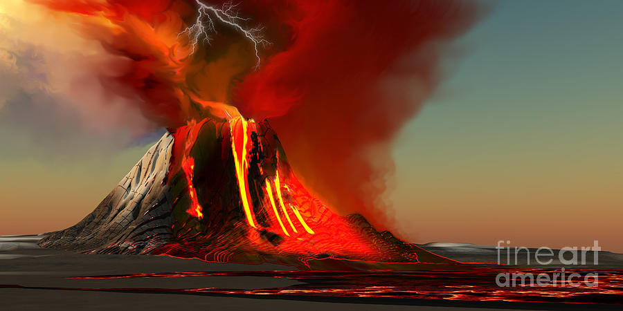 Hawaii Volcano Painting  - Hawaii Volcano Fine Art Print