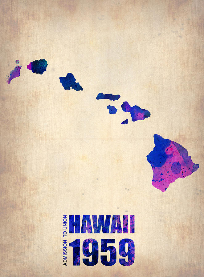Hawaii Watercolor Map Digital Art  - Hawaii Watercolor Map Fine Art Print