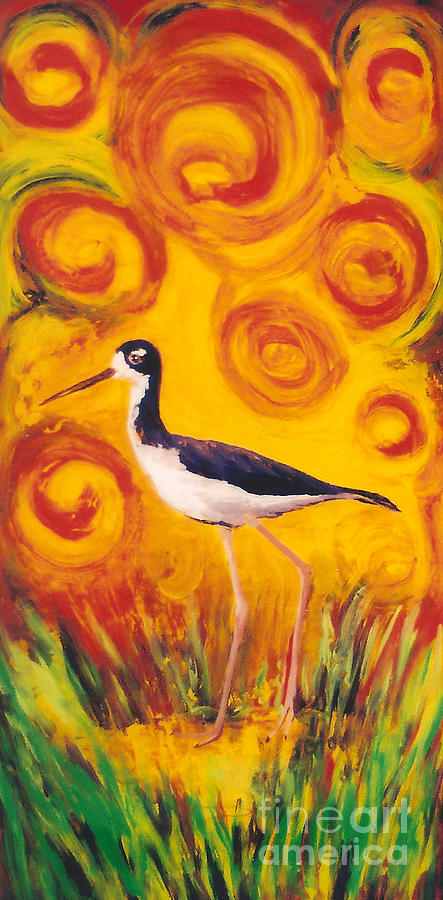 Hawaii Birds Painting - Hawaiian Stilt Sunset by Anna Skaradzinska