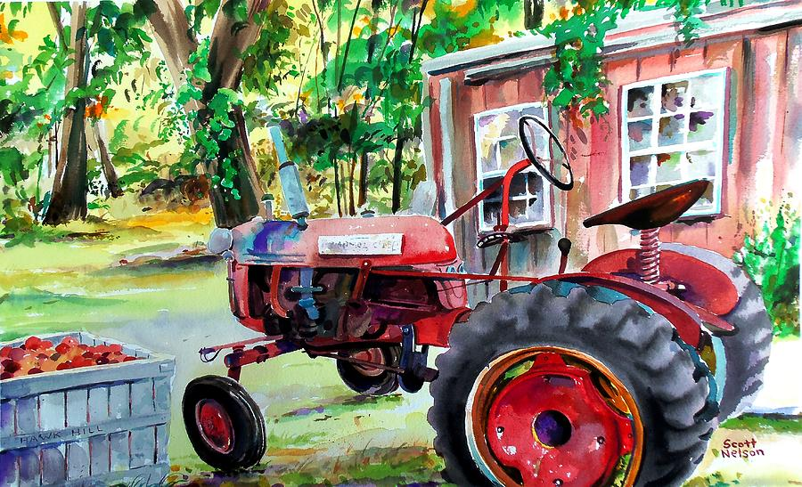 Hawk Hill Apple Tractor Painting  - Hawk Hill Apple Tractor Fine Art Print