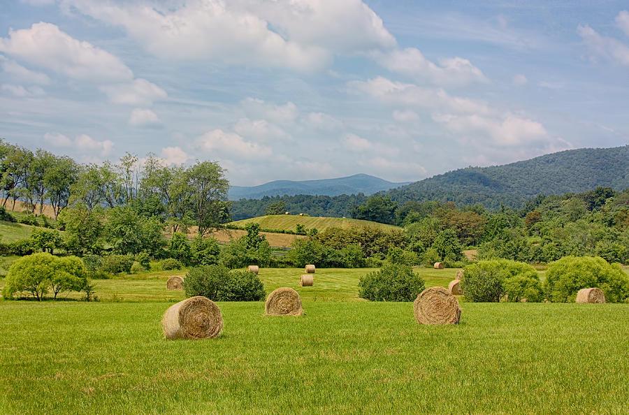 Farm Photograph - Hay Bales In Farm Field by Kim Hojnacki