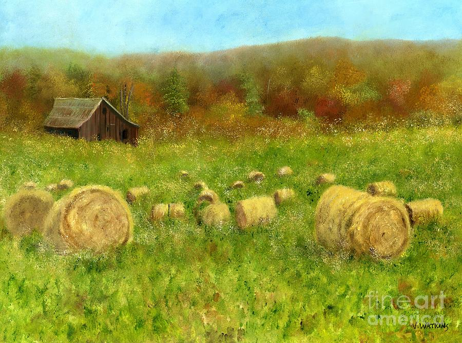 Hay Bales In The Meadow Painting  - Hay Bales In The Meadow Fine Art Print