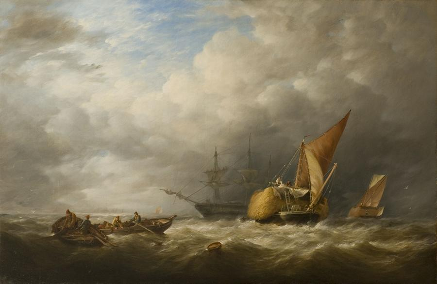 Hay Barges In The Thames Estuary Painting