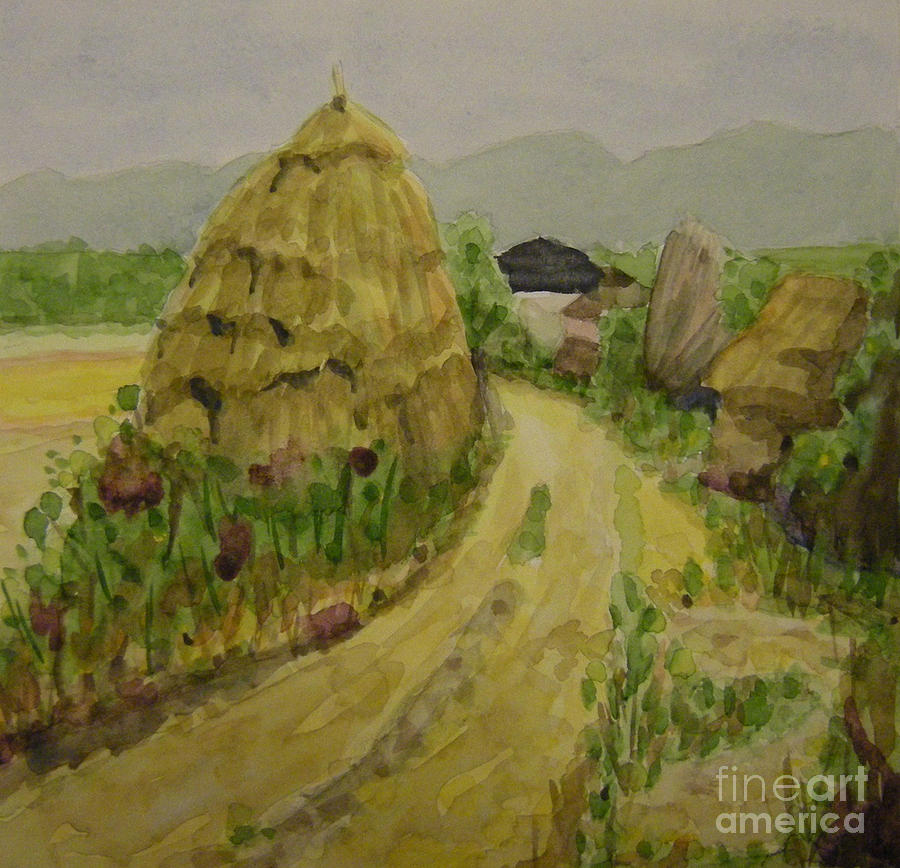 Landscape Painting - Hay Stack by Lilibeth Andre