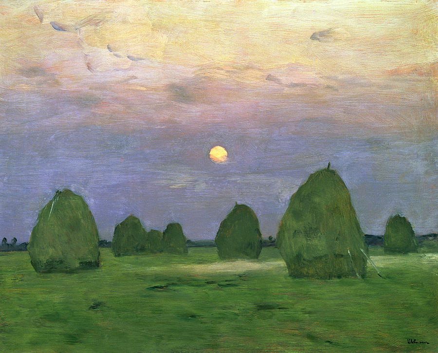 Hayricks At Dusk Painting