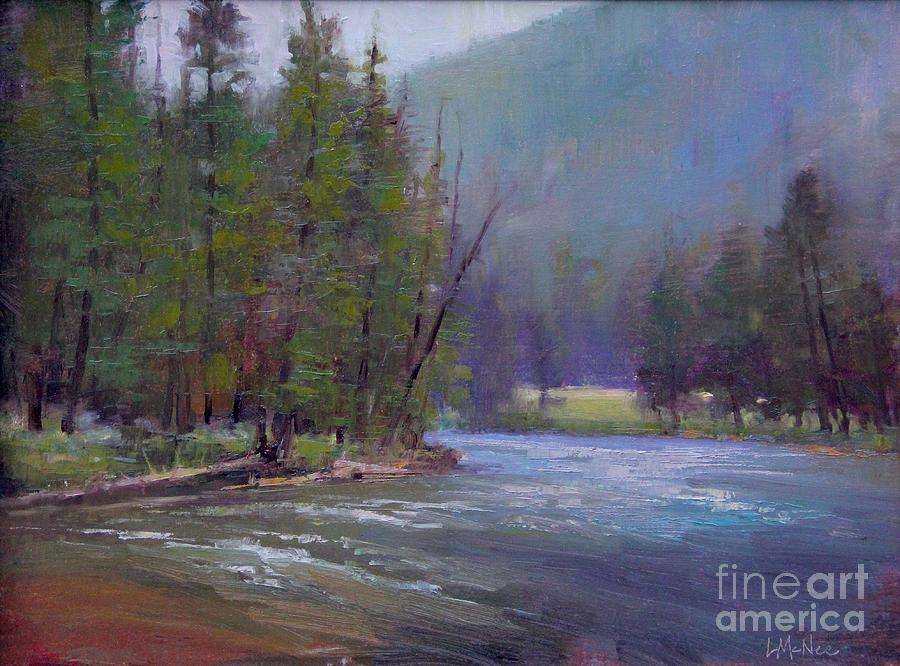 Hazy Day On The Gallatin  Painting  - Hazy Day On The Gallatin  Fine Art Print