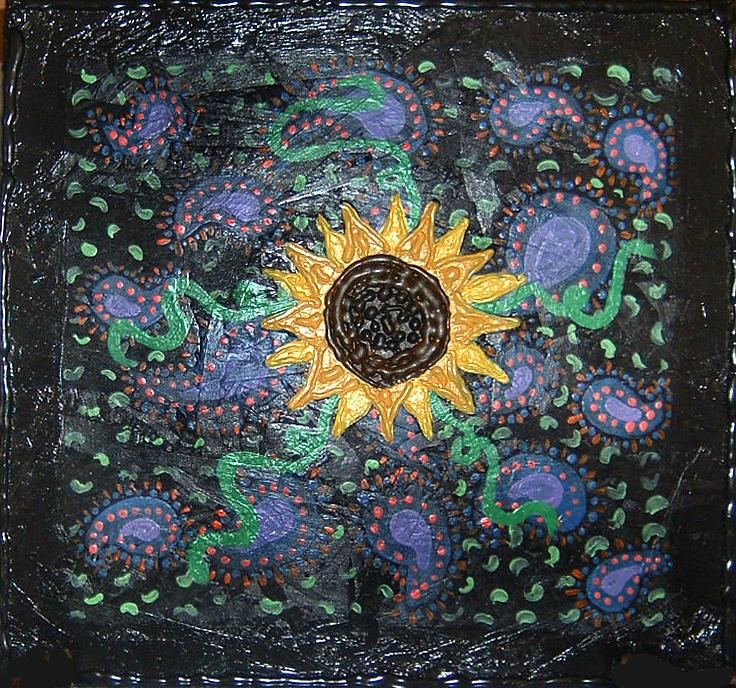 Sunflower Painting - Hazy Paisley  by Yvonne  Kroupa