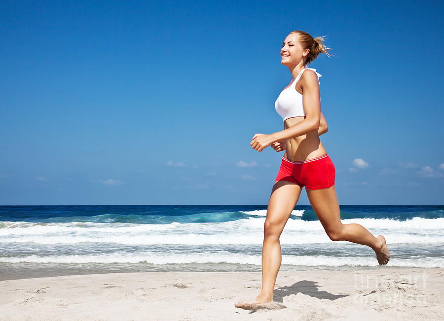 Healthy Woman Running On The Beach Photograph  - Healthy Woman Running On The Beach Fine Art Print