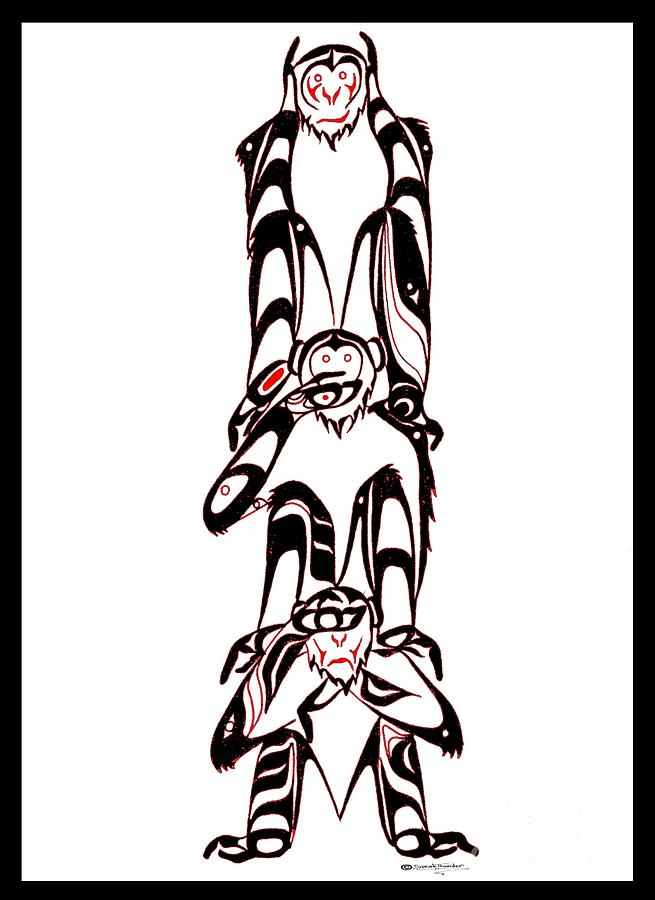 Hear No Evil Speak No Evil See No Evil Totem Drawing
