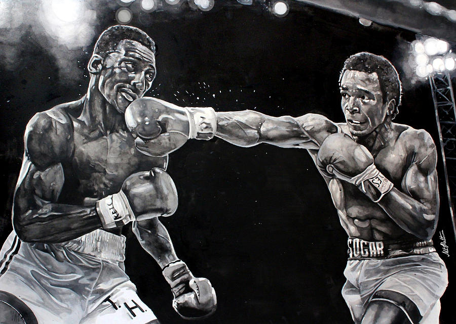 Hearns Vs. Leonard Painting  - Hearns Vs. Leonard Fine Art Print
