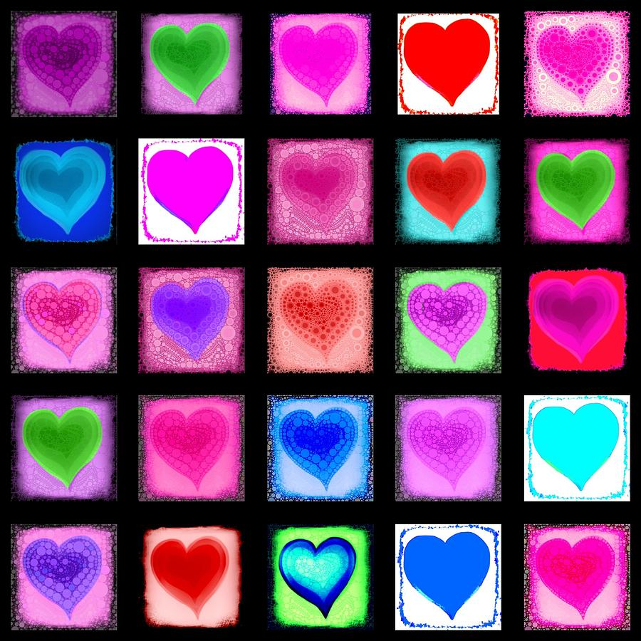 Heart Collage Digital Art  - Heart Collage Fine Art Print