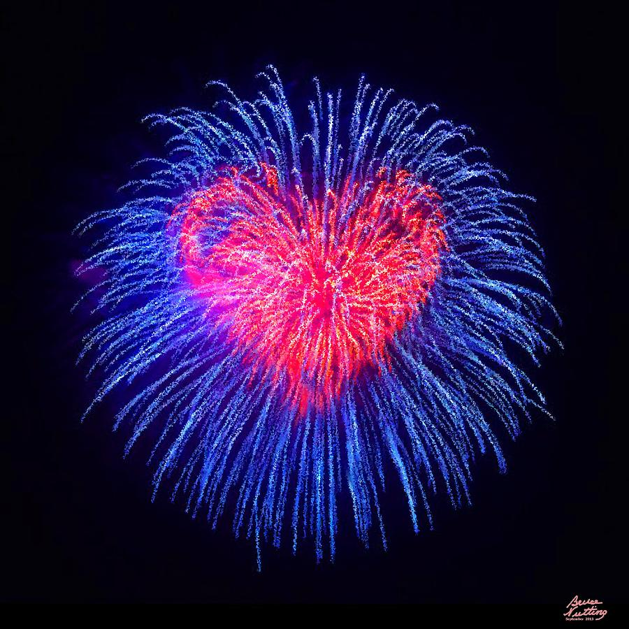 Heart Fireworks Painting By Bruce Nutting