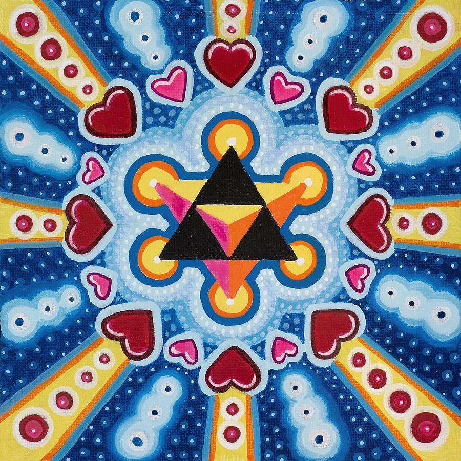 Sacred Geometry Paintings Painting - Heart Merkaba by Christopher Sheehan